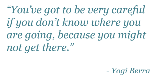 """""""You've got to be very careful if you don't know where you are going, because you might not get there."""" - Yogi Berra"""